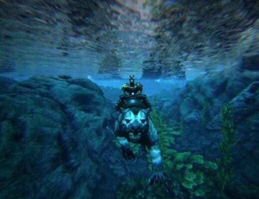 水中移動で逃げる