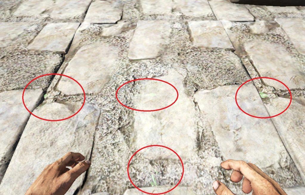 石の床に最初の1本目