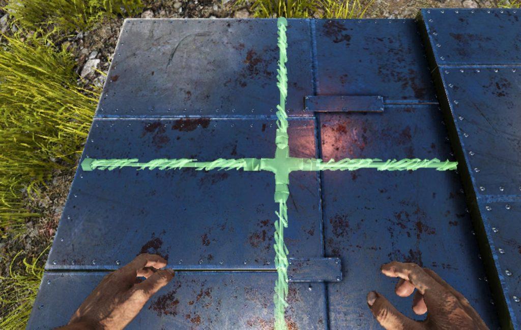 金属の床に最初の1本目