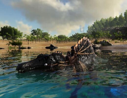 スピノサウルスで水中移動