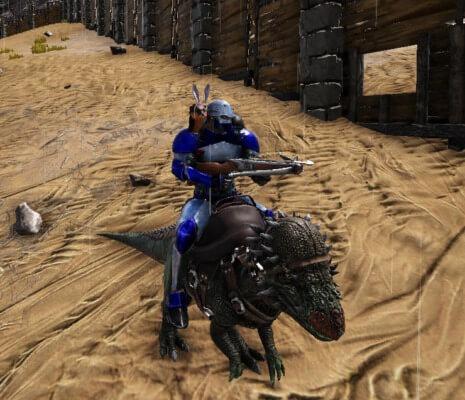 パキケファロサウルスから騎乗攻撃