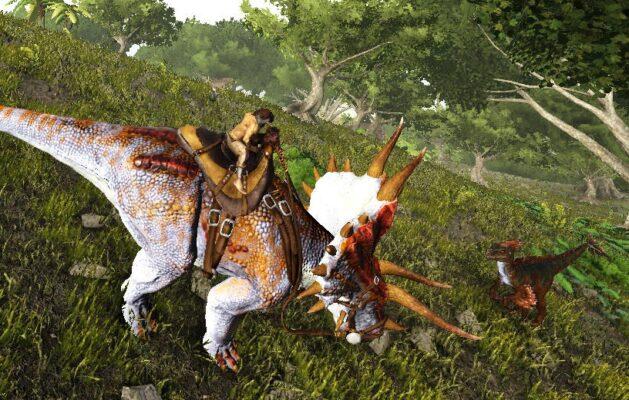 トリケラトプスとユタラプトル