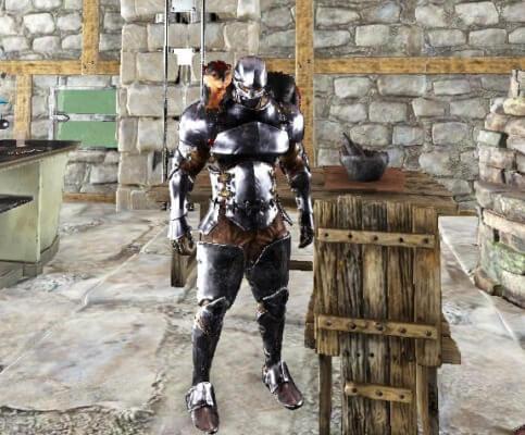 未塗装の金属鎧
