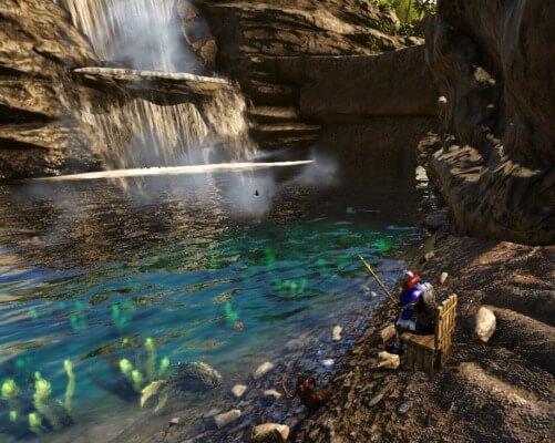 滝釣りの風景