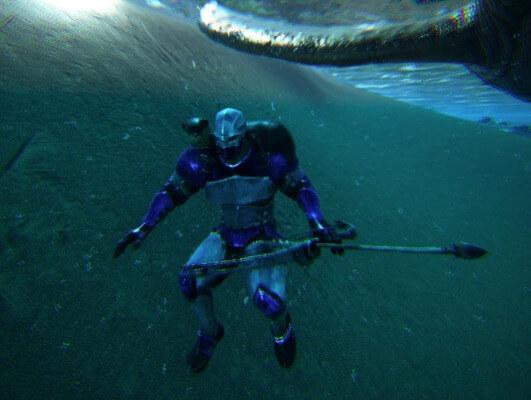 水中ではコンパウンドボウが使えない