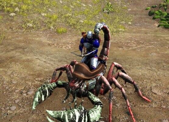 プルモノスコルピウスの上から騎乗攻撃
