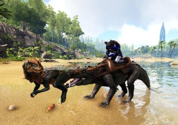 ディロフォサウルスを咥えた状態