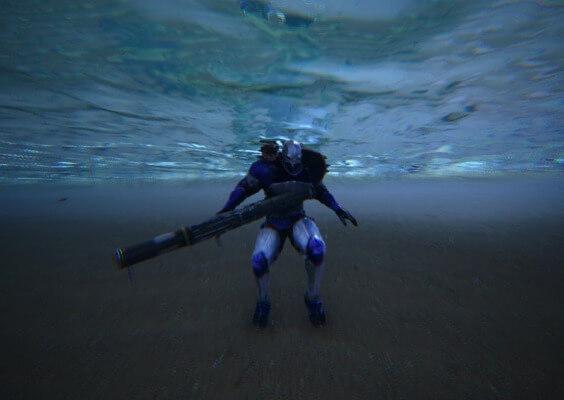 水中はロケットランチャー使用不可