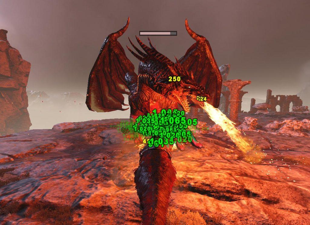 ドラゴンの火炎ブレス攻撃