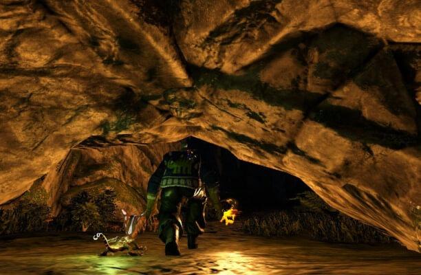 堕落の洞窟の狭い部分