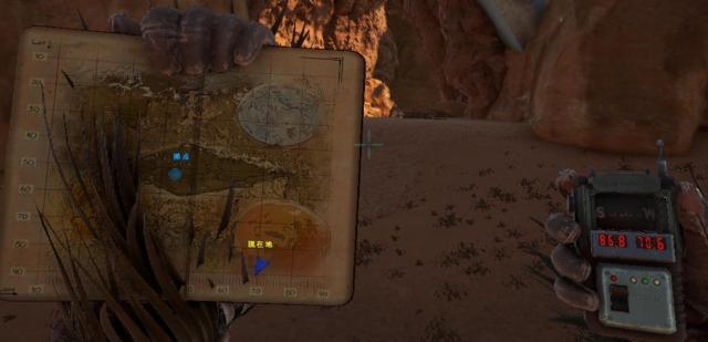 砂漠洞窟の入口の座標