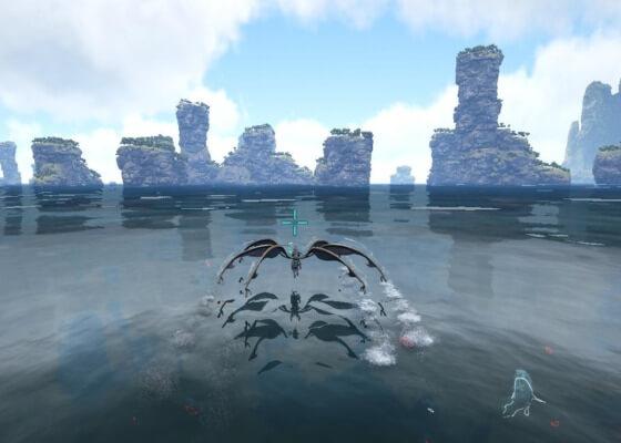 水上を浮いて移動