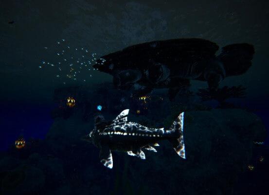 メガケロンとパラキートの魚群