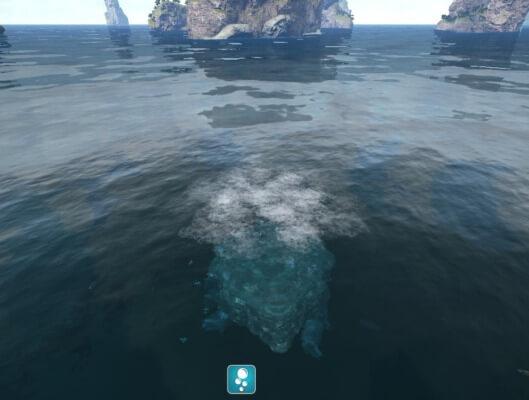 水中に潜り始めるメガケロン